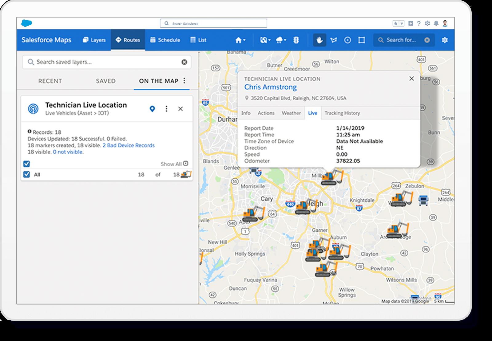 """Capture d'écran de Salesforcemaps et de la fonction """"tracking live suivi"""""""