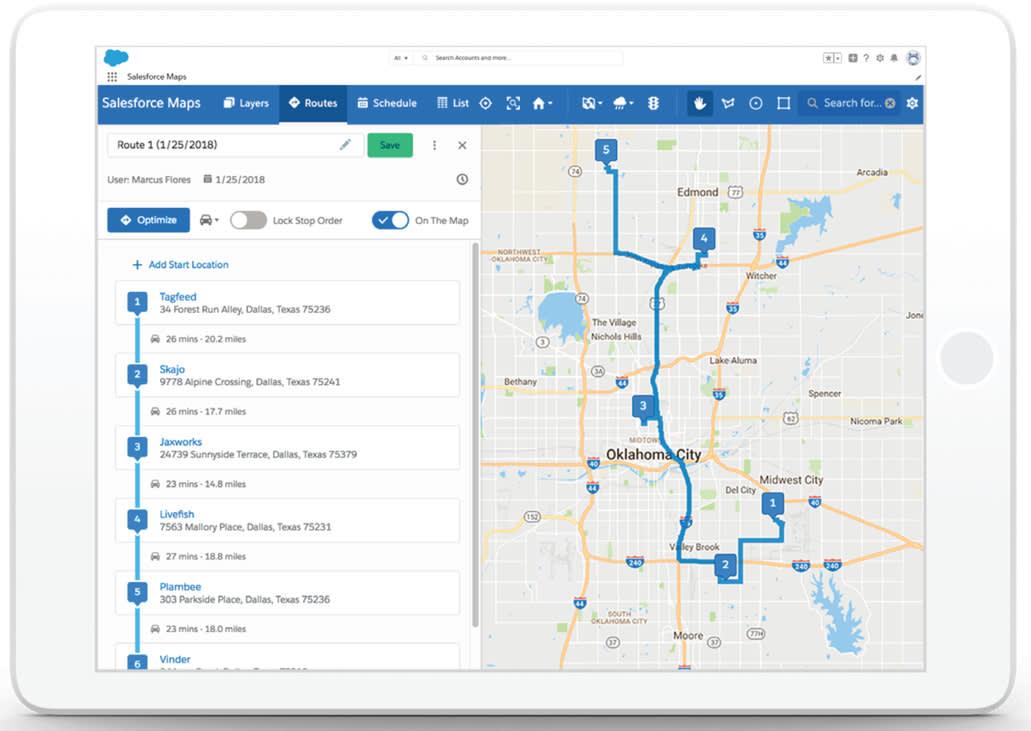 """captrue d'écran de salesforcemaps et de la fonction """"optimizing routes"""""""
