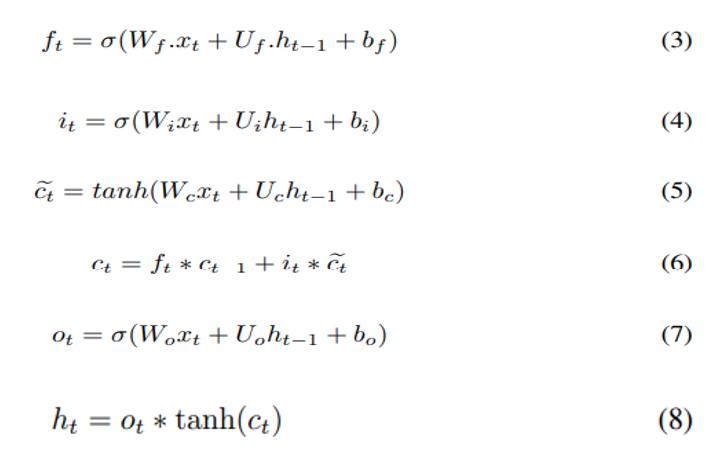 Réseaux de neurones récurrents : équations de modélisation d'un passe avant LSTM