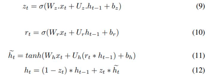 Equation de modélisation d'une passe avant de l'unité GRU